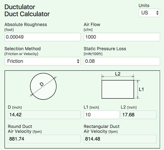 Online Ductulator Duct Size Calculator Ductcalc | Online